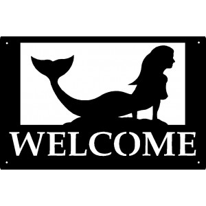 Sunning Mermaid Welcome Sign 17x11
