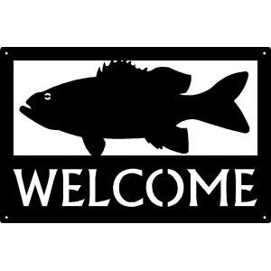 Bass Fish Welcome Sign 17x11