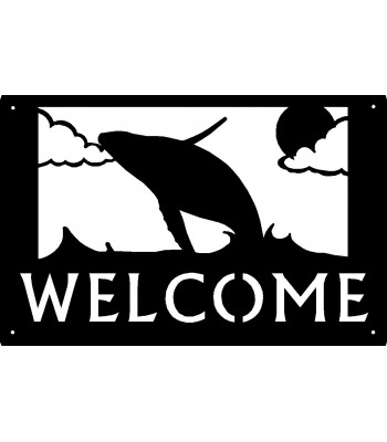 Humpback Whale Ocean Scene Welcome Sign 17x11