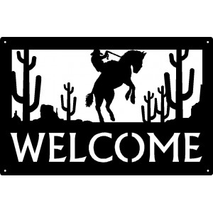 Bronco Mesa Cowboy Welcome Sign 17x11