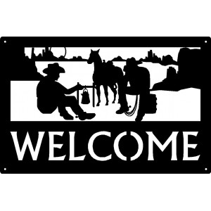 Cowboy Camp - Western Welcome Sign 17x11