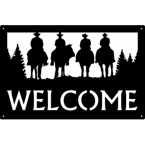 Four Riding Cowboys Welcome Sign 17x11