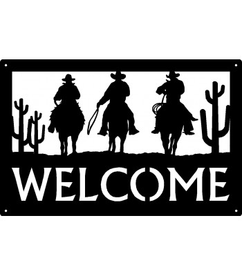 Cowboy Trio Welcome Sign 17x11