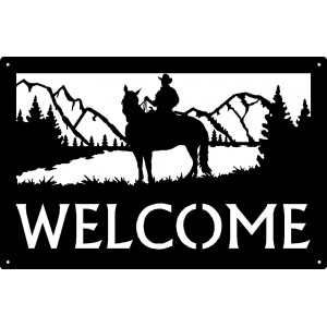 Cowboy Mountain Rider Welcome Sign 17x11