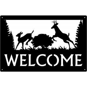 """The Chase"" Deer Welcome Sign 17x11"