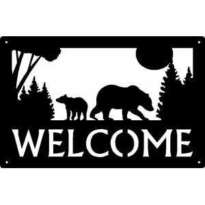 Bear with 1 cub Welcome Sign 17x11