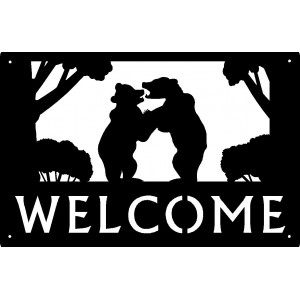 Bear Cubs playing Welcome Sign 17x11