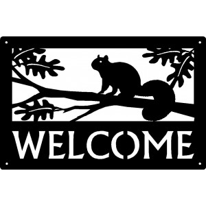 Squirrel in Tree Welcome Sign 17x11