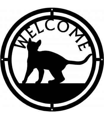 Cat #18 Round Welcome Sign
