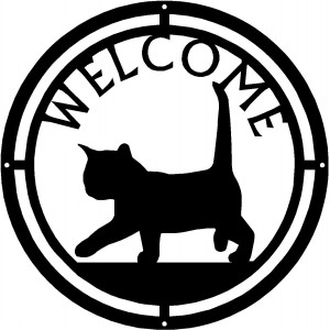 Cat #02 Round Welcome Sign