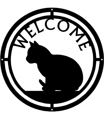 Cat #07 Round Welcome Sign