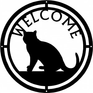 Cat #08 Round Welcome Sign