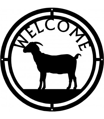 Horned Goat Round Welcome Sign