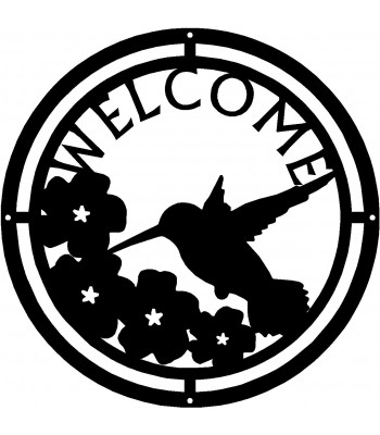 Hummingbird at Morning Glories Round Welcome Sign