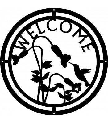 Hummingbird at Trumpet Flowers Round Welcome Sign