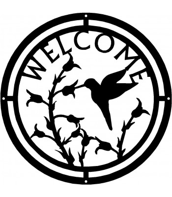 Hummingbird at Wildflowers Round Welcome Sign