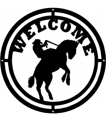 Cowboy & Mustang Round Welcome Sign