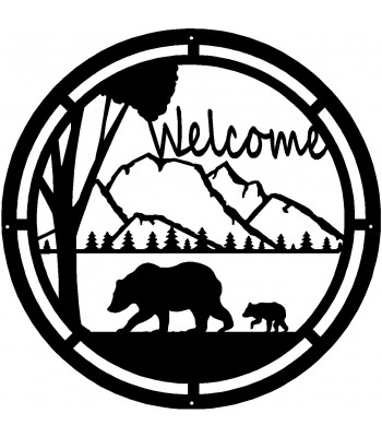 Bear & Cub Round Welcome Sign