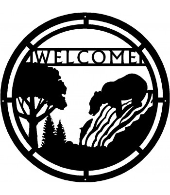 Bear Fishing Round Welcome Sign