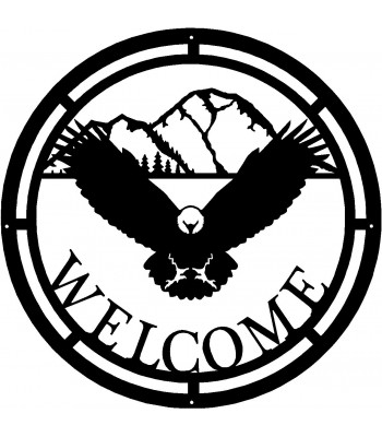 Eagle Mountain Scene Round Welcome Sign