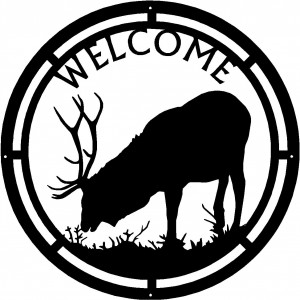 Elk Bull  #05 Round Welcome Sign