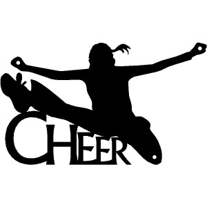 Cheerleader Jump Kick CHEER  - Sport Silhouettes Wall Art