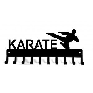 Karate Flying Side Kick - Medal Rack Display