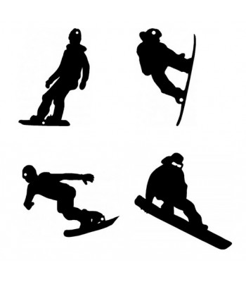 Sport Snowboarding - Set of 4 Silhouettes - Wall Art