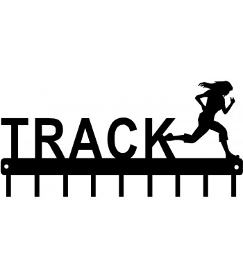 Track Running Female Figure - Medal Rack Display