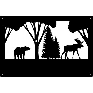 Bear and Moose Wildlife Wall Art Sign  17x11