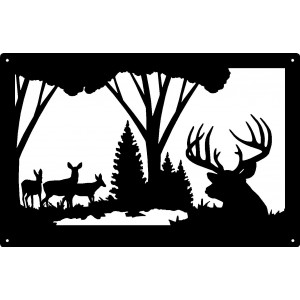 Buck and Doe Across the Pond Wildlife Wall Art Sign  17x11
