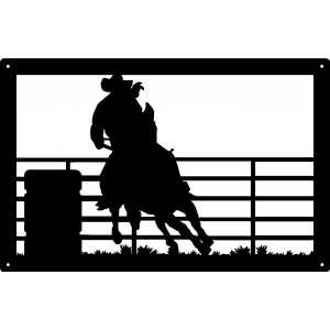 Barrel Racer Rodeo Western Wall Art Sign 17x11