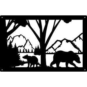 Bear and Cub Mountain Scene Wildlife  Wall Art Sign  17x11