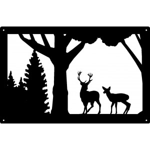 Buck and Doe Wildlife Wall Art Sign  17x11
