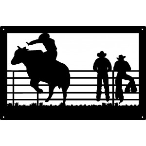 Bull Rider and Cowboys Wall Art Sign 17x11
