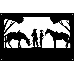 Cowboy and Cowgirl Chance Meeting  Wall Art Sign 17x11