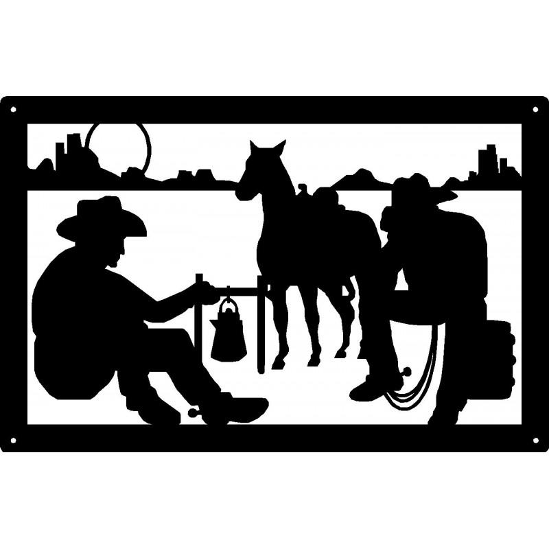 cowboy night at campfire western wall art sign rh artisanmetalshop com Cowboy Silhouette Clip Art Cowboys by Campfire