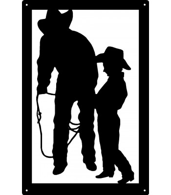 Cowboy and Cowkid Lasso Lessons Wall Art Sign 17x11