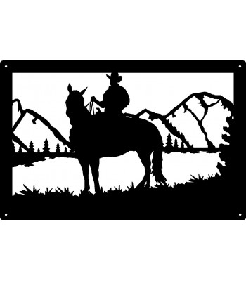 Cowboy on Horse Mountain Scene Western Wall Sign 17x11