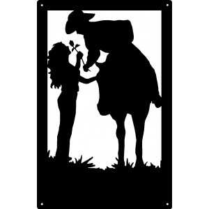 Cowboy and Cowgirl Romantic Couple Wall Art Sign 17x11